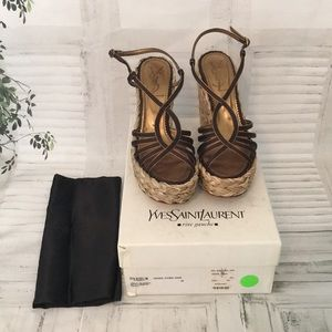 YSL Loulou Brown Satin straw wedge sandals sz 8
